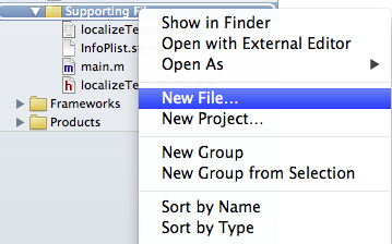 xcode new file